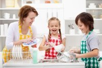 Kitchen cleaning with kids