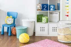 Organizing kids rooms: Bookshelves with baskets can organize a child's toys.