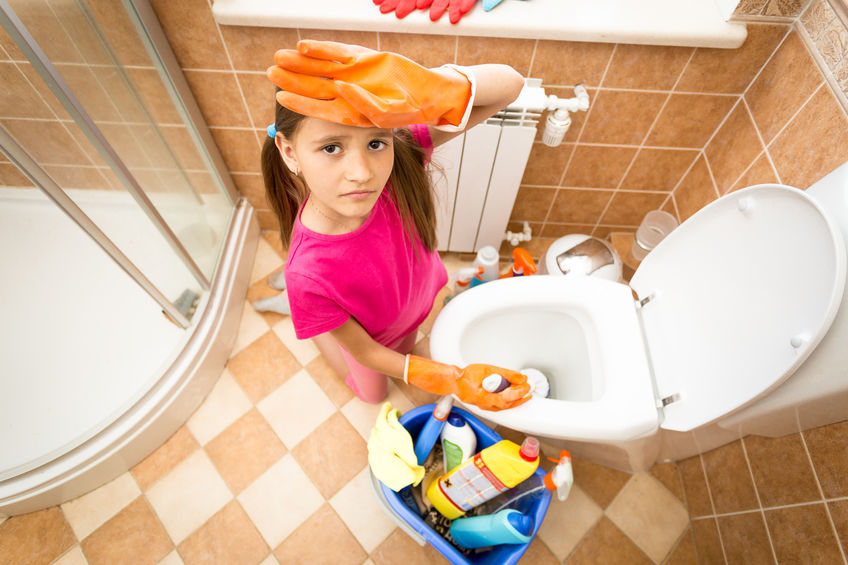 Bathroom cleaning with kids.