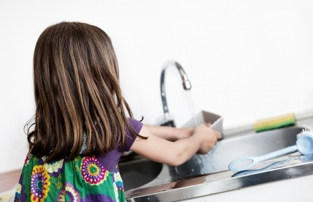 Kids can help with party clean up as dish washers.