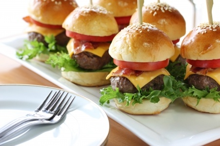Kid friendly family parties should feature some special treats for little ones such as sliders in addition to the adult fare.