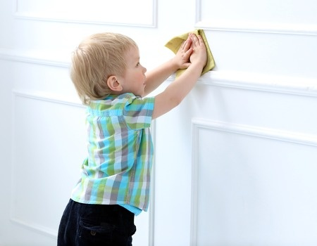 Kids can help with wall cleaning as they're just the right height and ...